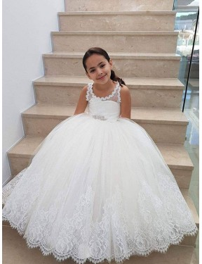 Cheap Ivory Ball Gown  Lace & Tulle Flower Girl Dress Alberta