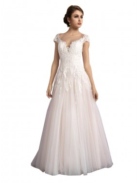 Cheap Ivory & Champagne A-Line Illusion Cathedral Train Cap Sleeves Tulle Wedding Dress Alberta