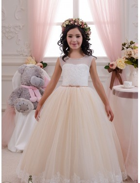 Cheap Ivory & Champagne Ball Gown Sweetheart  Sleeveless Lace & Tulle Flower Girl Dress Alberta