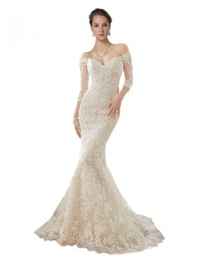 Cheap Ivory & Champagne Mermaid Off the Shoulder Chapel Train Long Sleeves Lace & Tulle Wedding Dress Alberta